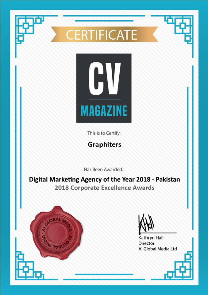Digital Marketing Agency of the year 2018 - Pakistan