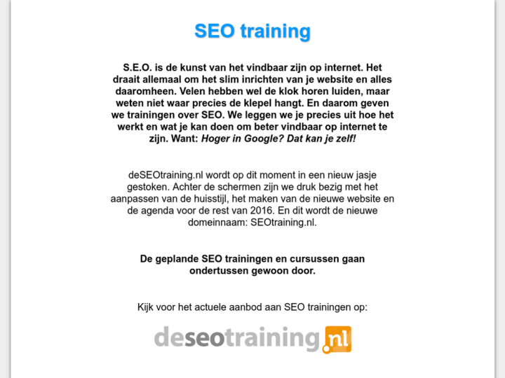 SEO Training Nederland