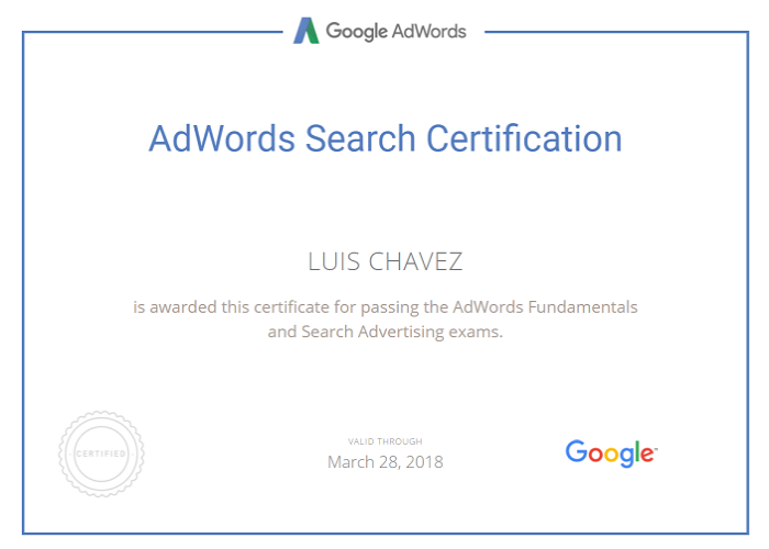 AdWords Serch Certification