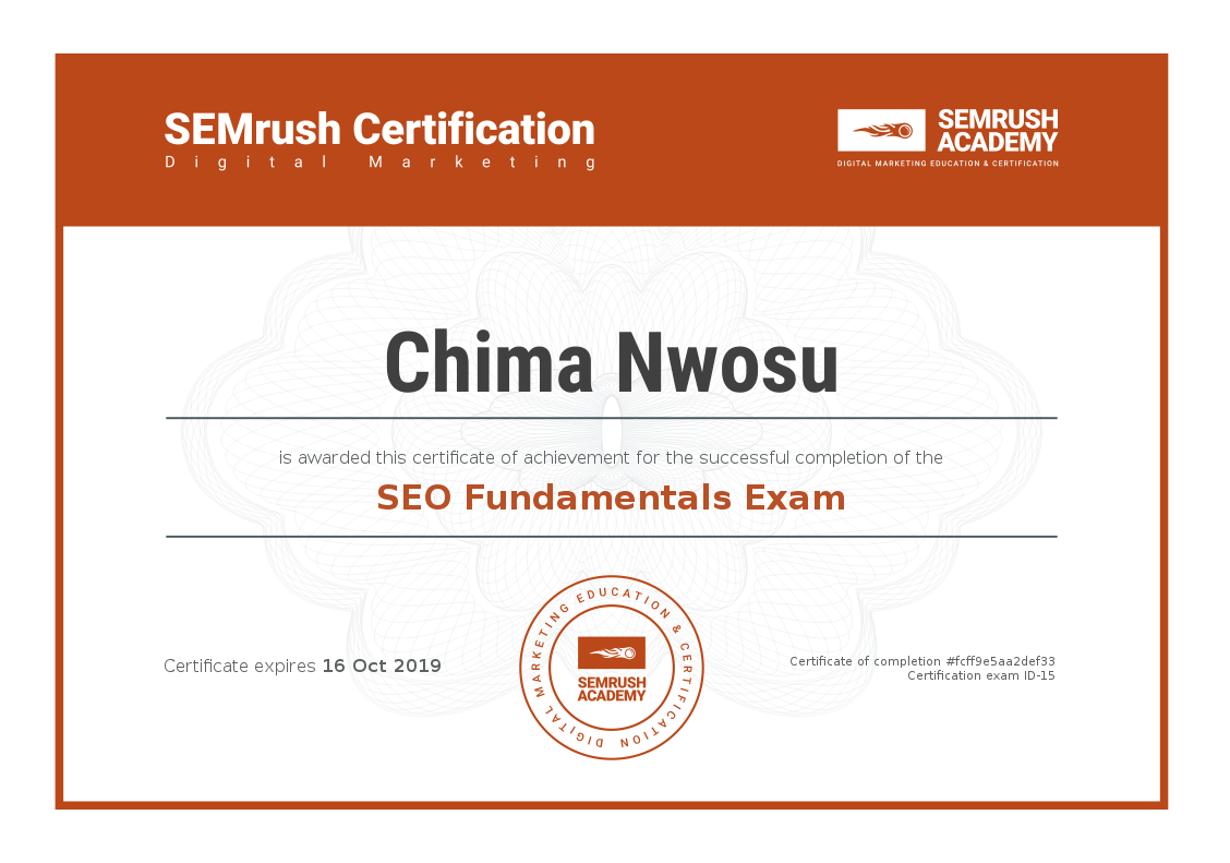 SEO Fundamentals Exam - SEMrush Academy