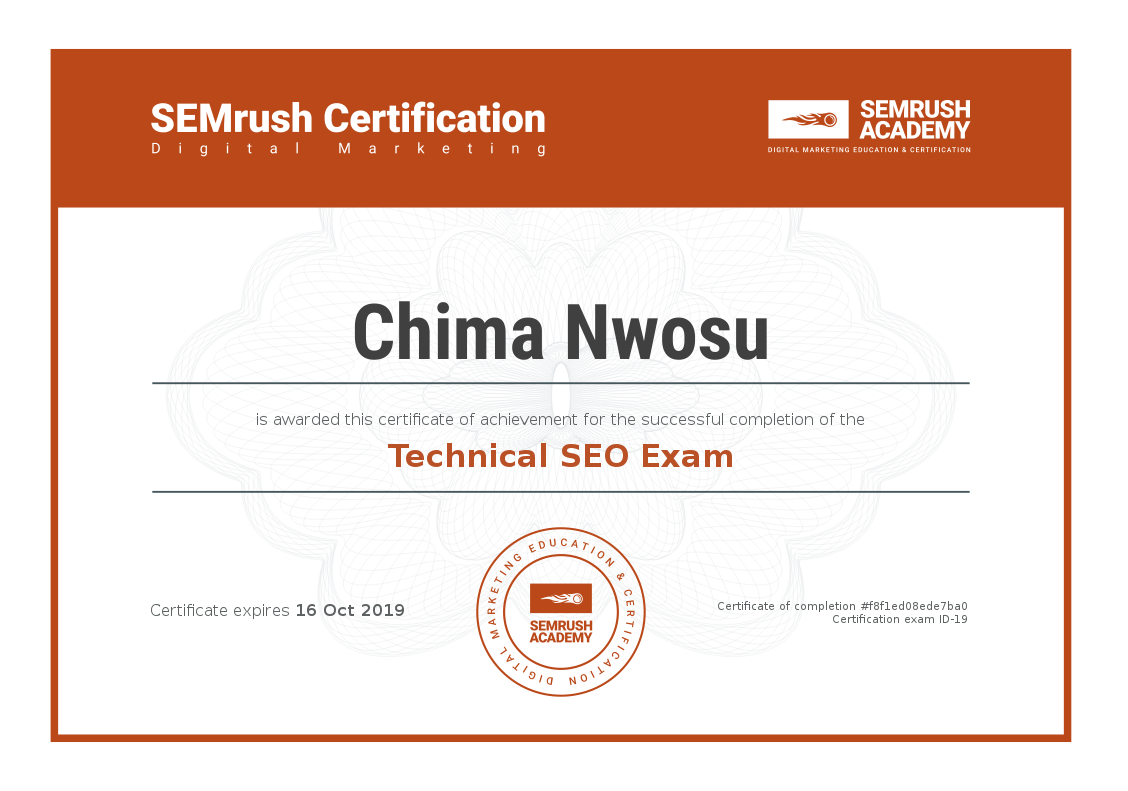 Technical SEO Exam - SEMrush Academy