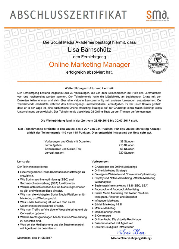Certification Online Marketing Manager